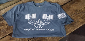 Metroflex Gym T-Shirt with American Flag | Indigo | Metroflex Gym