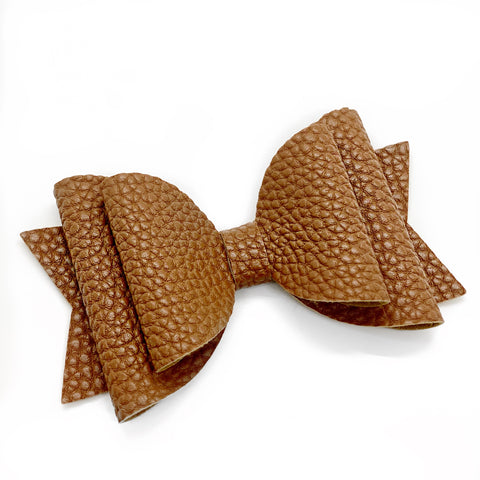 Brown Faux Leather Bows