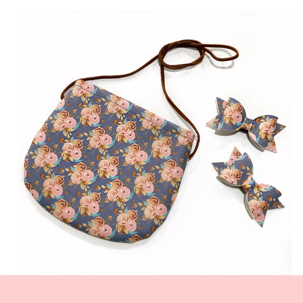 Blue Floral Tote NO SNAPS