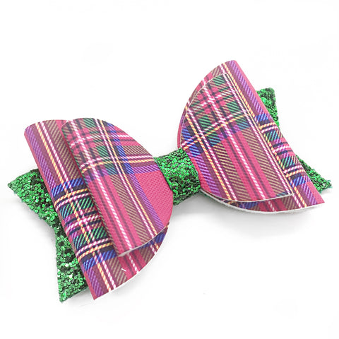 "Pink Plaid Glam Bow (4.5"")"