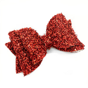 "Red Tinsel Glam Bow (4.5"")"