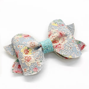 "Blue Floral Lace Preslee Pinch Bow (3.5"")"