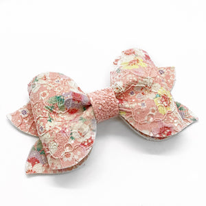 "Pink Floral Lace Preslee Pinch Bow (3.5"")"