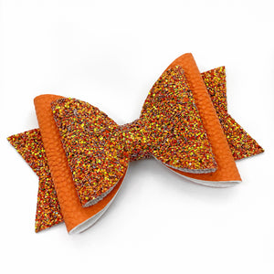 "Fall Orange 2-Tone Sparkle Glam Bow (4.5"")"