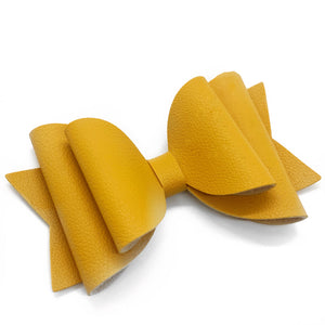 Mustard Faux Leather Bows