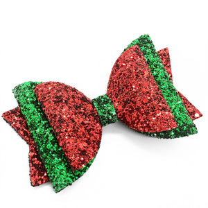 "Merry 2-Tone Sparkle Glam Bow  (4.5"")"
