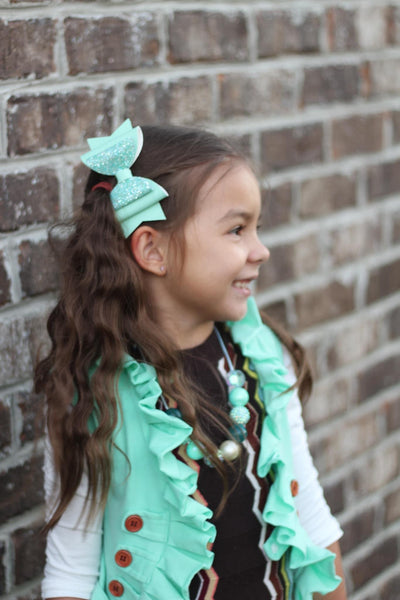 "2-Tone Mint Glam Bow (4.5"")"