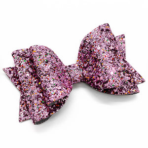 "Rainbow Purple Glam Bow (4.5"")"