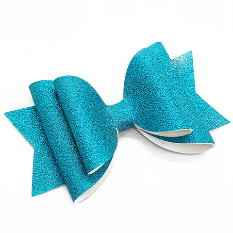 "Rainbow Blue Shimmer Glam Bow (4.5"")"