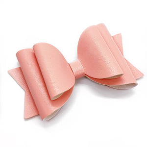 "Faux Leather Light Pink Glam Bow (4.5"")"