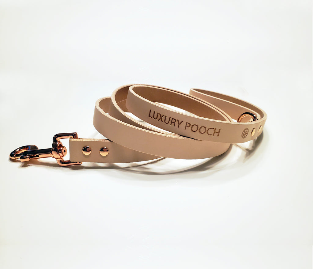 Off White Leather Dog Leash with Rose Gold Copper Hardware