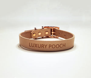 Luxury Off White and Rose Gold Dog Collar by Luxury Pooch
