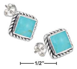 Sterling Silver Square Roped Edge Simulated Turquoise Post Earrings
