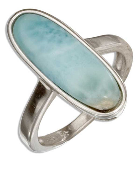 Sterling Silver Skinny Oval Larimar Ring