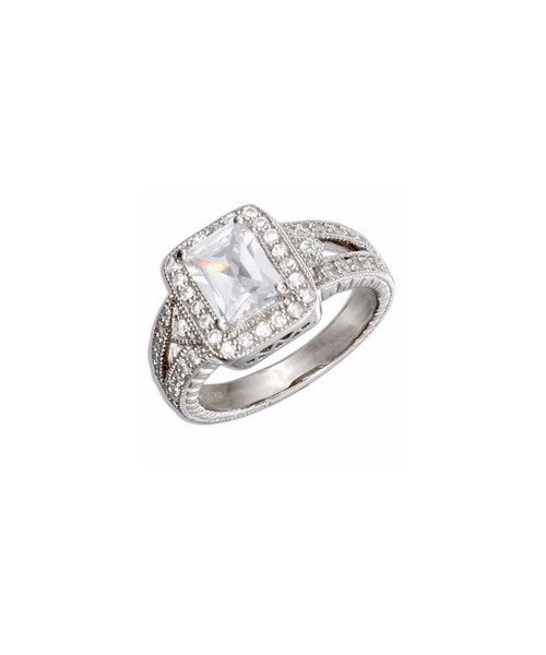 Sterling Silver Vintage Style CZ Ring