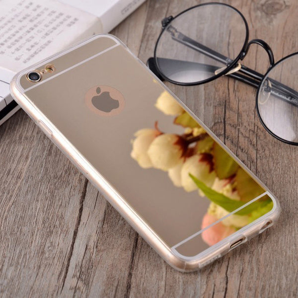 Luxury Plating Mirror Soft TPU Silicon Phone Case For iphone 7 6 6S / 7 6 6S Plus 5 5S 4 4s Back Cover Phone Bag Cases