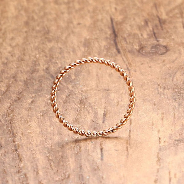 Rose Gold Plated Stainless Steel 1.5MM Twisted Rings