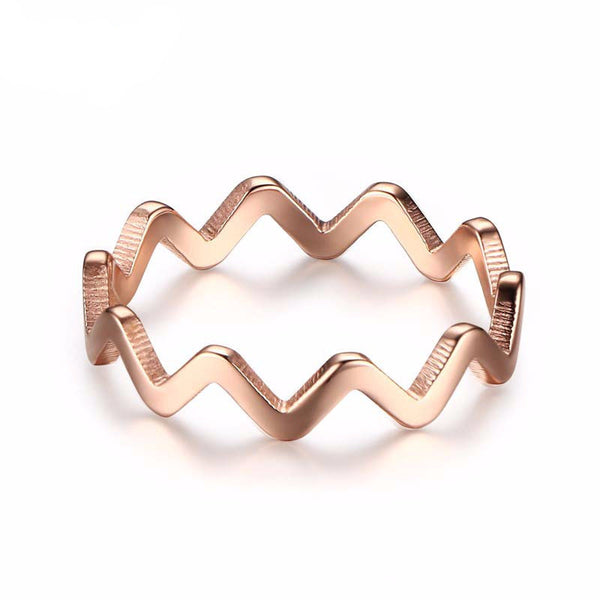 Classic Bijoux 18K Rose Gold Plated Filled Zig Zag Ring