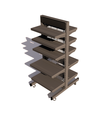 "Freestanding Merchandiser, 36"" Mobile Shelving Unit"