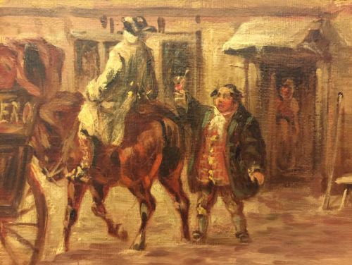 "Oil Painting MAGGS John Charles MAGGS ""Setting Out From the Old Angel"" 1860 Pub"