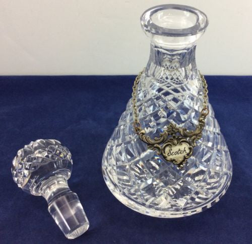 2 ROLY POLY CRYSTAL DECANTERS Vintage Estate Lot WATERFORD ALANA Scotch Bourbon