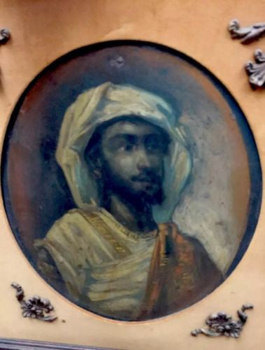 Antique American 19th Century Portrait Painting Oil On Tin Ottoman Period EMIR X