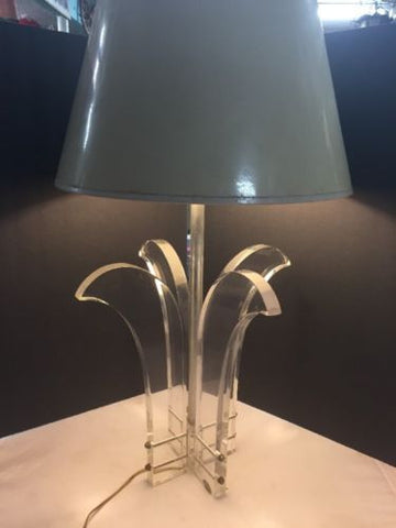 PALM BEACH ASTROLITE lucite Palm Tree Lamp Chrome Accents