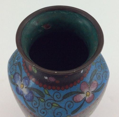 CLOISONNE VASE Antique Chinese FLORAL FLOWER Enamel Over Brass BLUE BLACK