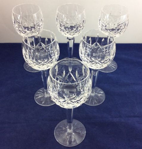 "6 WATERFORD CRYSTAL 7-1/2"" WINE HOCK GLASSES Cups Goblets LISMORE PATTERN Set"