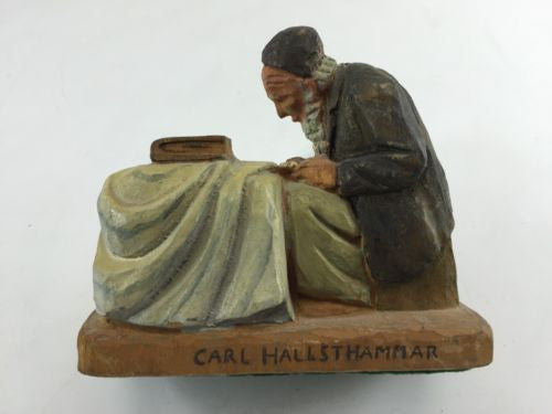 "Wood CARVING Carl HALLSTHAMMAR ""Sacred Work"" RABBI Folk Art Figural SCULPTURE"