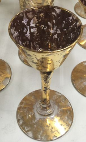 Mid Century/Hollywood Regency Gold Spatter Purple Glass Martini Pitcher DrinkSet