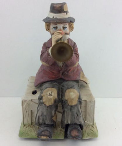 MELODY IN MOTION / WACO Vintage WILLIE THE HOBO TRUMPETER CLOWN Music Box SIGNED