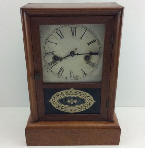 MAHOGANY MANTEL / SHELF CLOCK Antique REGULATOR Wind-Up PENDULUM w/KEY *RUNNING*