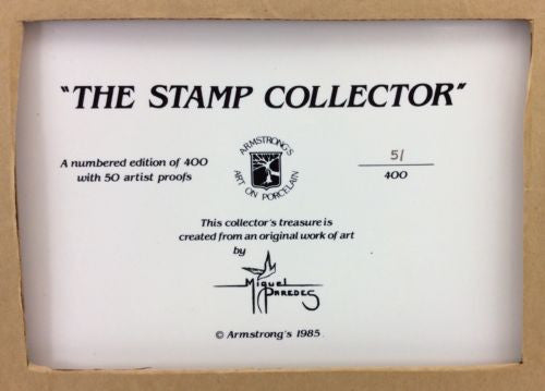 """THE STAMP COLLECTOR"" Armstrong's Art On Porcelain MIGUEL PAREDEG Limited Edit."