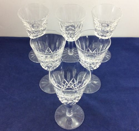 "6 WATERFORD CRYSTAL 5-7/8"" CLARET WINE GLASSES Cups Goblets LISMORE PATTERN Set"