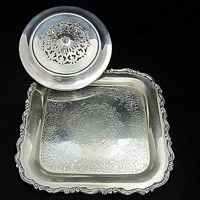 "2 Pc Mixed Lot Silverplate Covered Entree Dish & ""Onieda"" Georgian Scroll Tray"