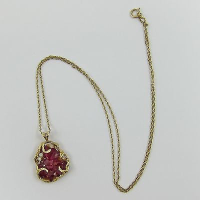 "RUBY CLUSTER, DIAMOND & 14K YELLOW GOLD Vintage 19"" NECKLACE & PENDANT 4.8 Grams"