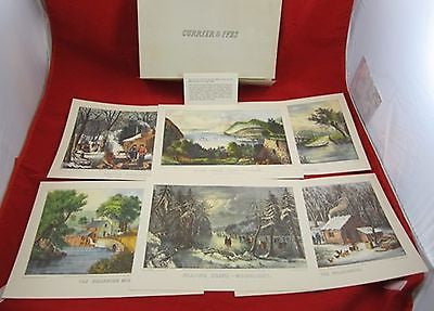 Vintage CURRIER & IVES PRINT Collection of 6 19th Century Art Landscape American