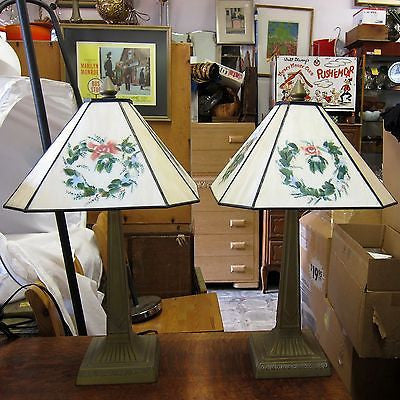 2 SLAG GLASS DESK LAMPS Table Lights HAND PAINTED FLORAL SHADES Art Deco Style