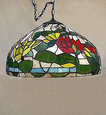 TIFFANY STYLE Copper Foil Ceiling Lamp Vintage #03 Leaded Stained Glass Shade