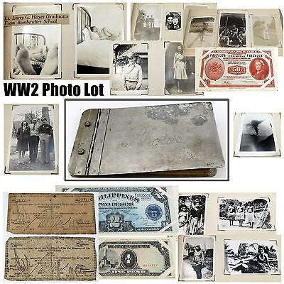 WW2 PHOTO & SOUVENIR ALBUM Risque Pictures CUYO PALAWAN BANKNOTES Currency Money