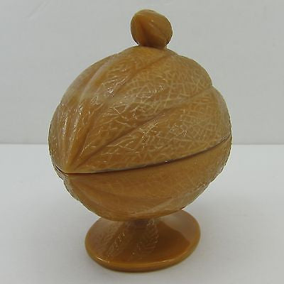 LIDDED SLAG GLASS COMPOTE Vintage BUTTERSCOTCH Nut Shaped FOOTED CANDY DISH Jar
