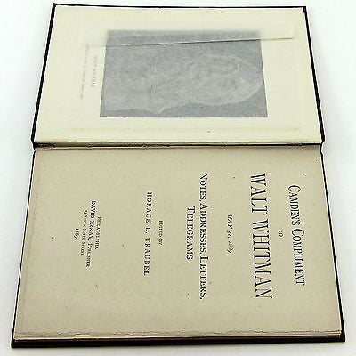 CAMDEN'S COMPLIMENT TO WALT WHITMAN David McKay 1889 1st FIRST EDITION Rare Book