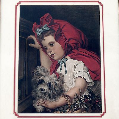 MARIE CORNELISSEN Antique Print LITTLE RED RIDING HOOD Framed Chromolithographic