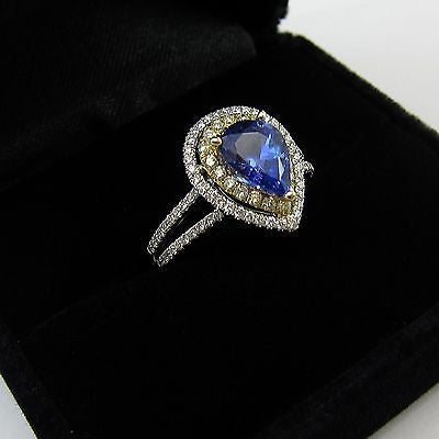 1.57 ct PEAR CUT TANZANITE RING Custom Design 14K GOLD .53 tcw DIAMONDS Size 6.5