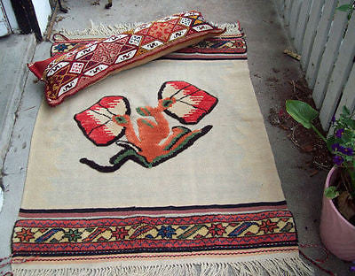 Hand MADE Turkish RUG Bolster PILLOW Wall TURKEY Kilim