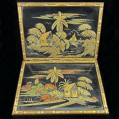 TIKI South Pacific Styled Art Two Original Tropical Scenes in Wood & Framed