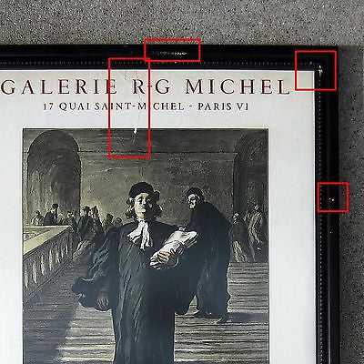 Vintage French Galerie R-G Michel Exhibit Poster Featuring Honoré Daumier Framed