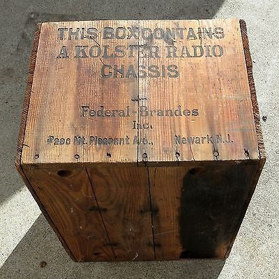 KOLSTER RADIO CHASSIS BOX / WOOD SHIPPING CRATE Antique c.1930 FEDERAL-BRANDES
