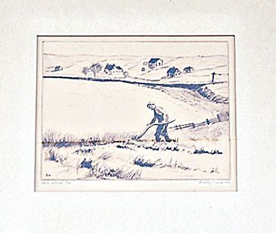 1940 SEPIA INK Print by Sidney WEISS Framed Matted Signed Numbered 7/50 farmer